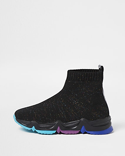 Girls black knitted high top trainers