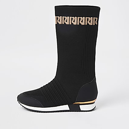 Girls black knitted long sock trainer
