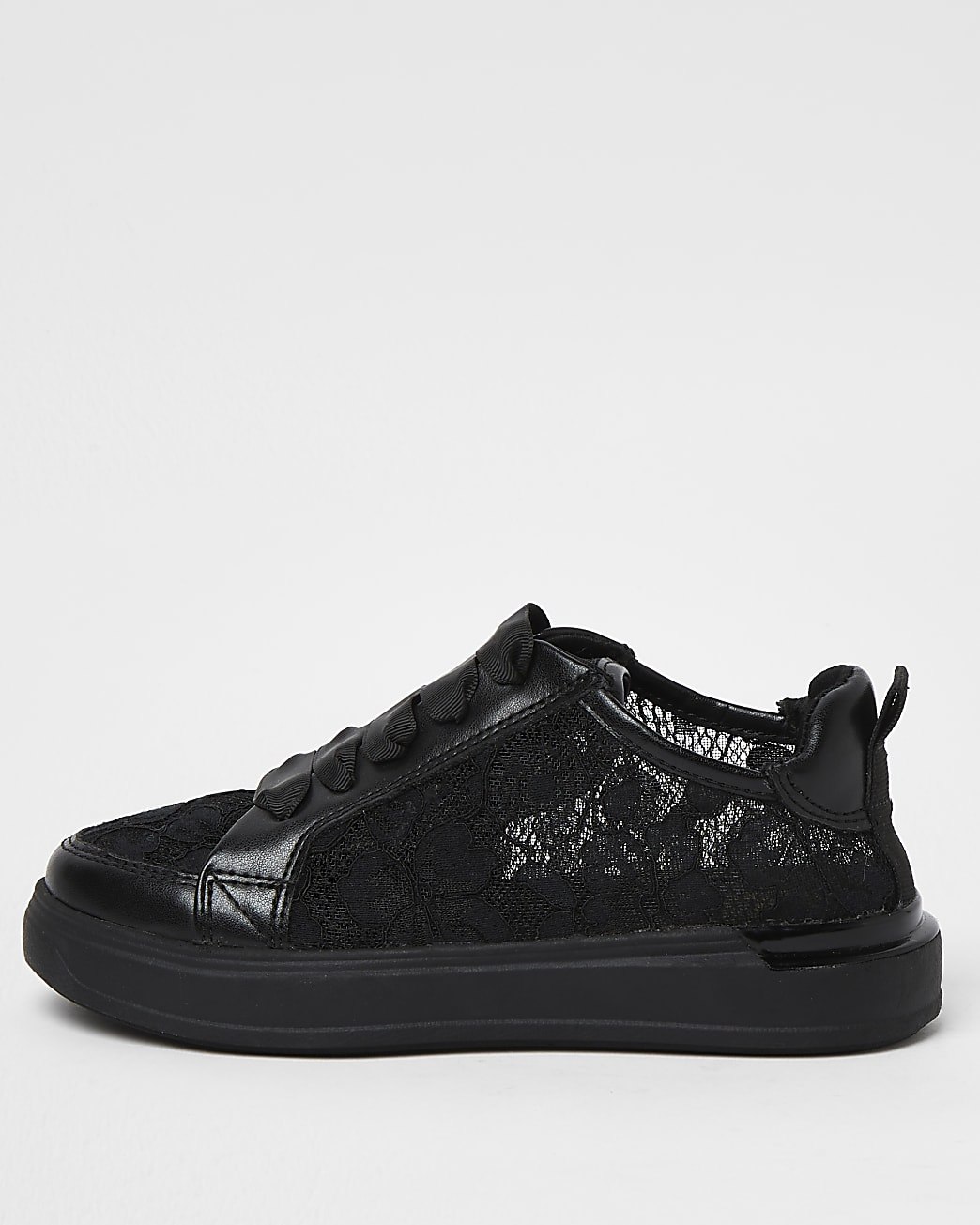 Girls black lace design trainers