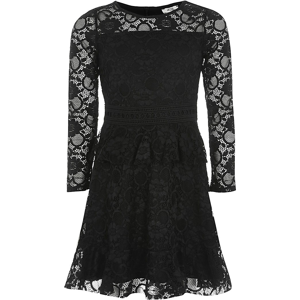 Girls black lace frill long sleeve dress