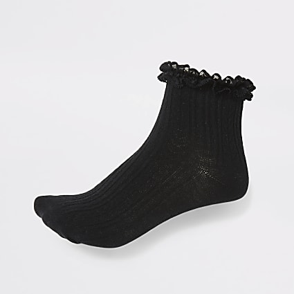 Girls black lace frill socks 2 pack