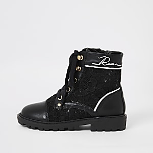 Girls black lace hiker boots