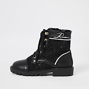 Chaussures de randonnée noires à lacets pour fille