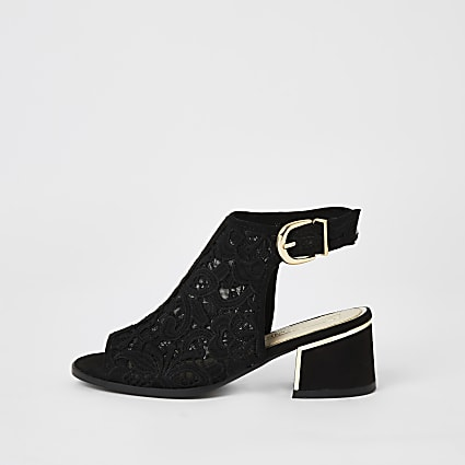 Girls black lace open toe shoe boot
