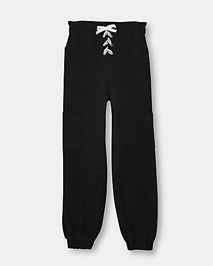 Girls black lace up cargo trousers