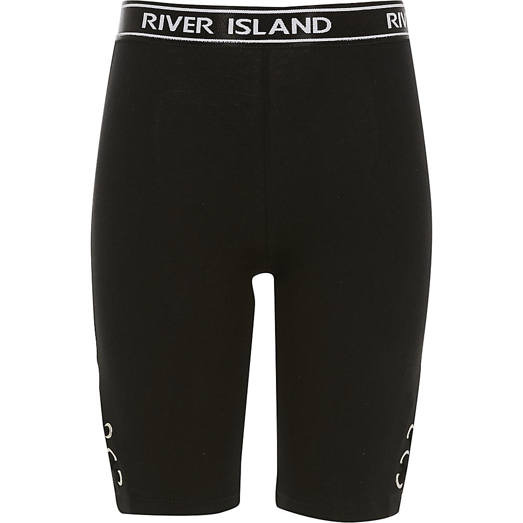 Girls black lace-up side cycling shorts