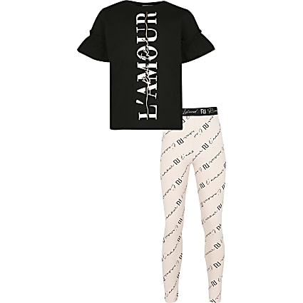 Girls black L'amour leggings outfit