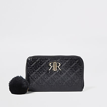 Girls black large monogram zip around