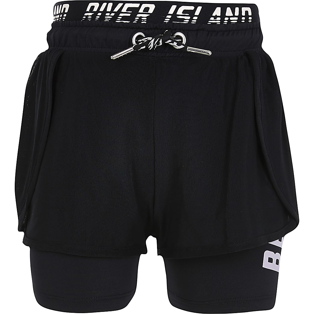 Girls black layer RI waistband shorts
