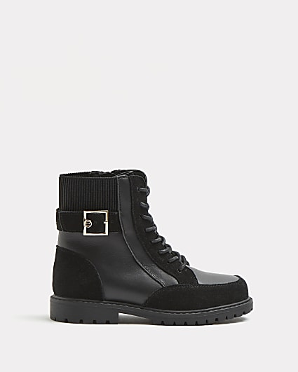 Girls black Leather lace up boots