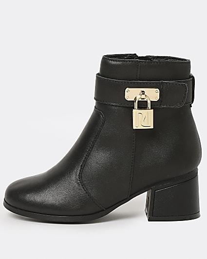 Girls black leather padlock heel boots