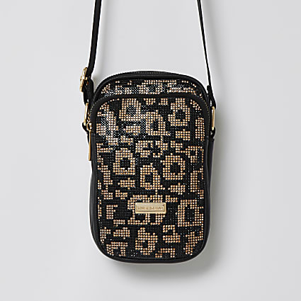Girls black leopard bling festival bag