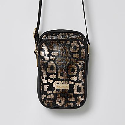 Girls black leopard bling festival bag