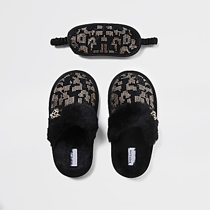 Girls black leopard diamante slippers set