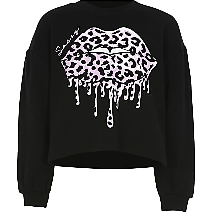 Girls black leopard drippy lips sweatshirt