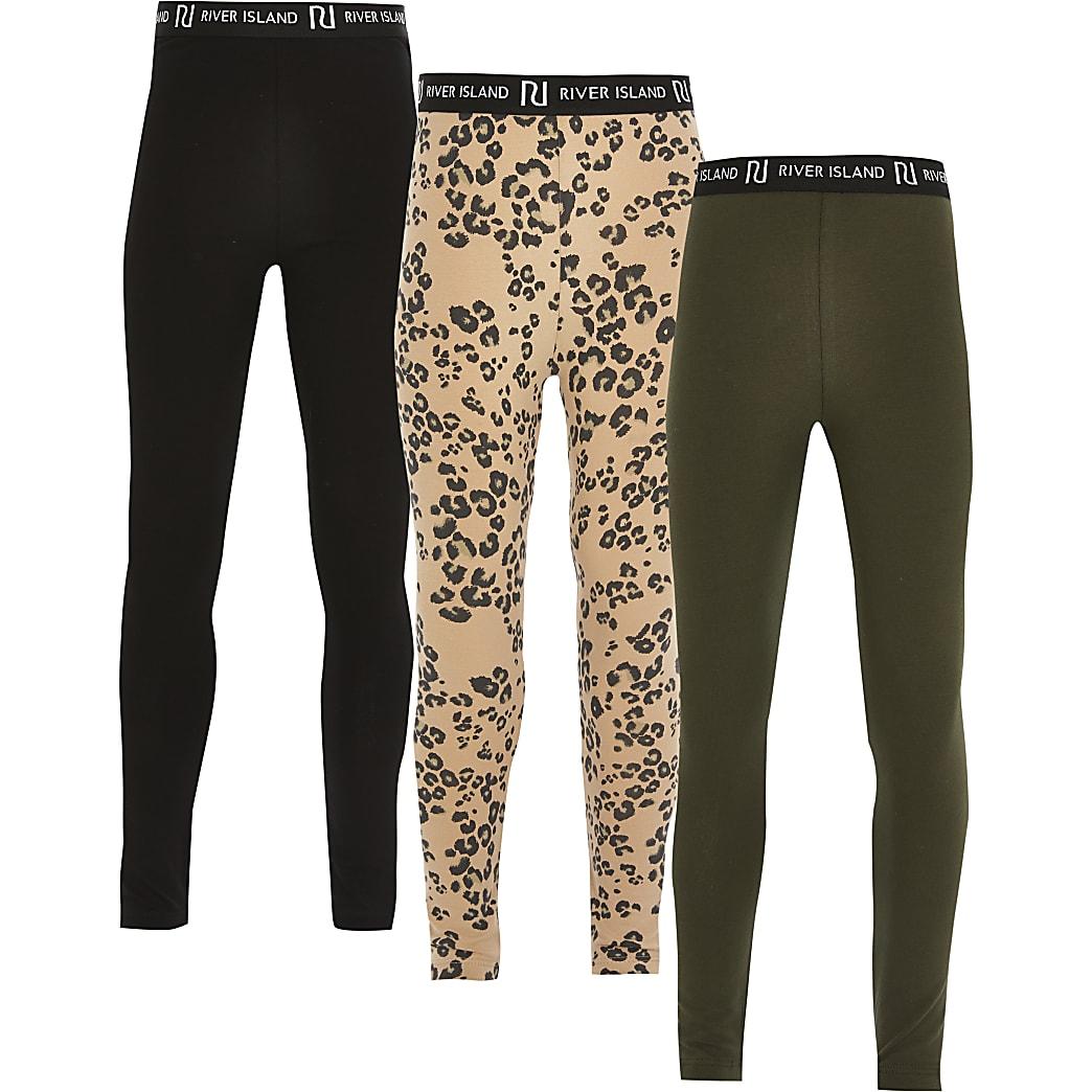 Girls black leopard leggings 3 pack