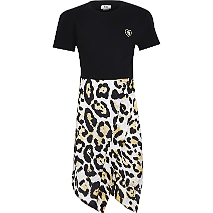 Girls black leopard print dress