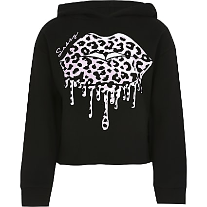 Girls black leopard print drippy lips hoodie