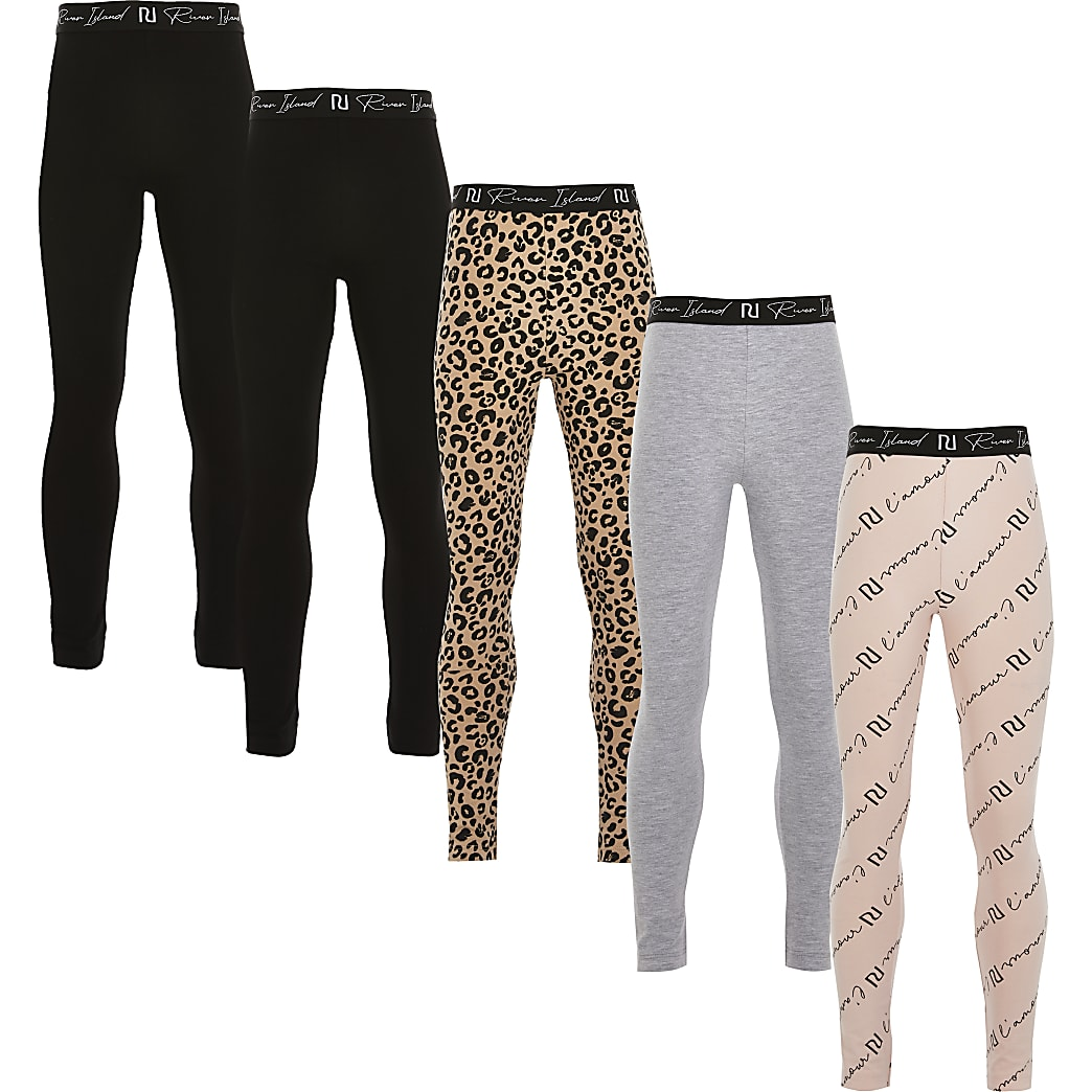 Girls black leopard print leggings 5 pack