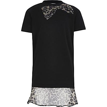 Girls black leopard print organza dress