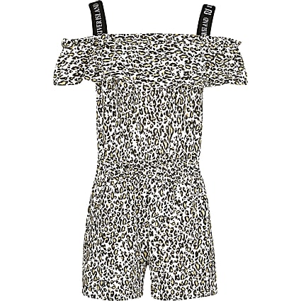 Girls black leopard print playsuit