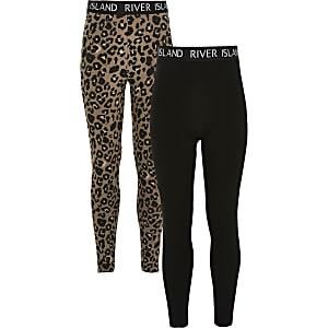 Zwarte RI leggingsmet luipaardprint voor meisjes set van 2