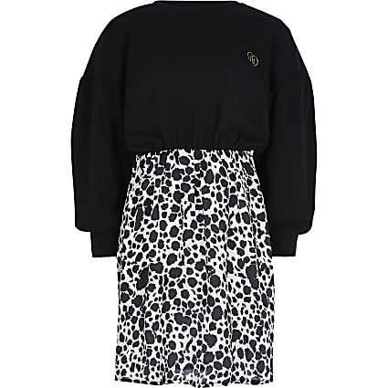 Girls black leopard print sweat dress