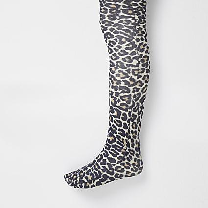 Girls black leopard print tights