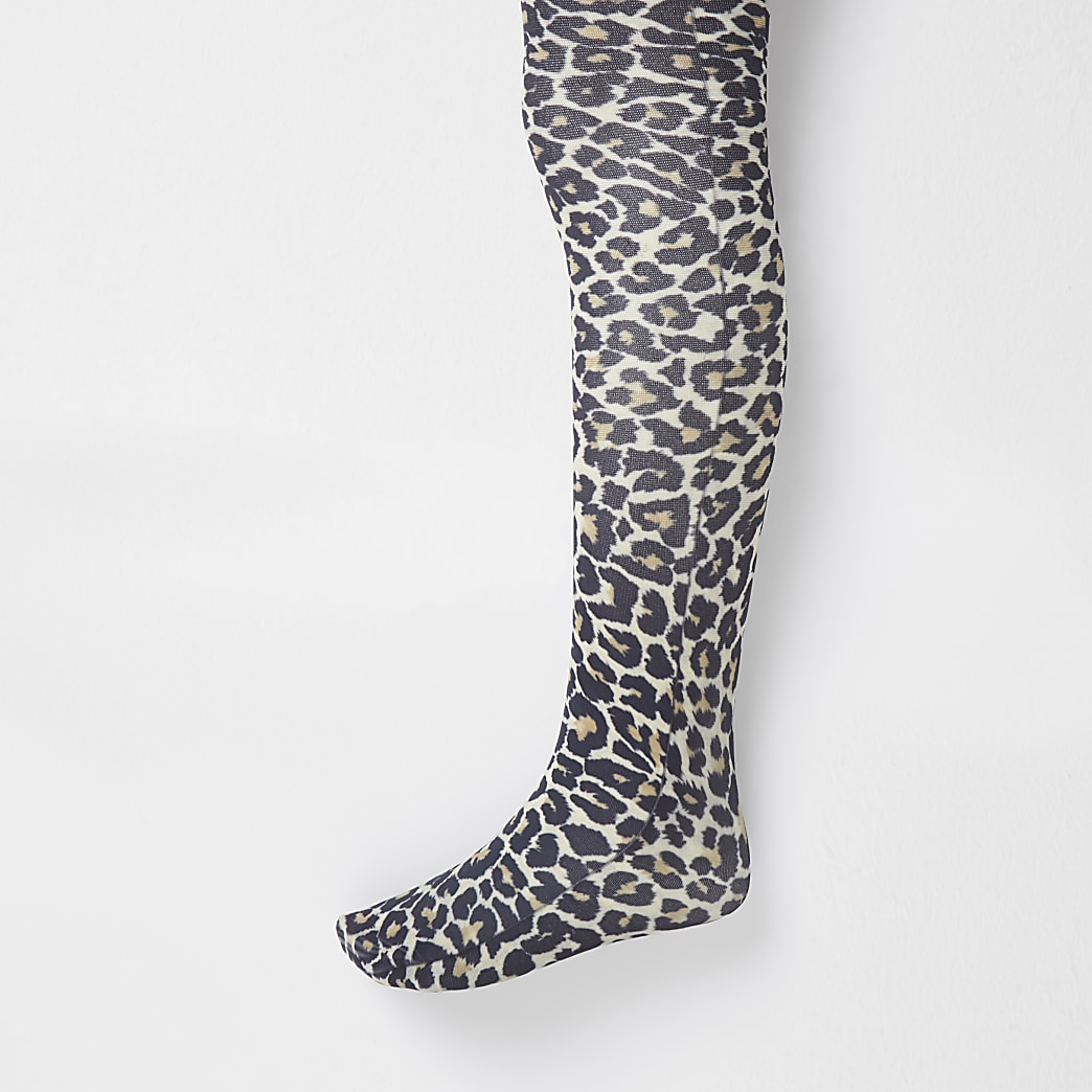 Girls black leopard print tights