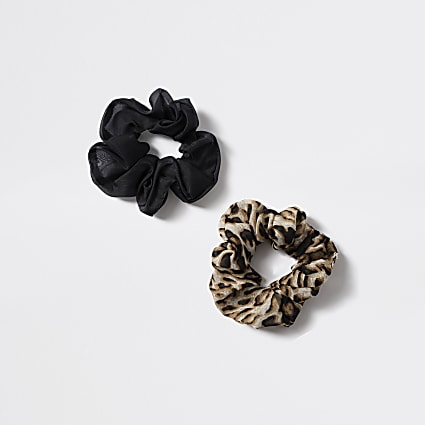 Girls black leopard scrunchie 2 pack