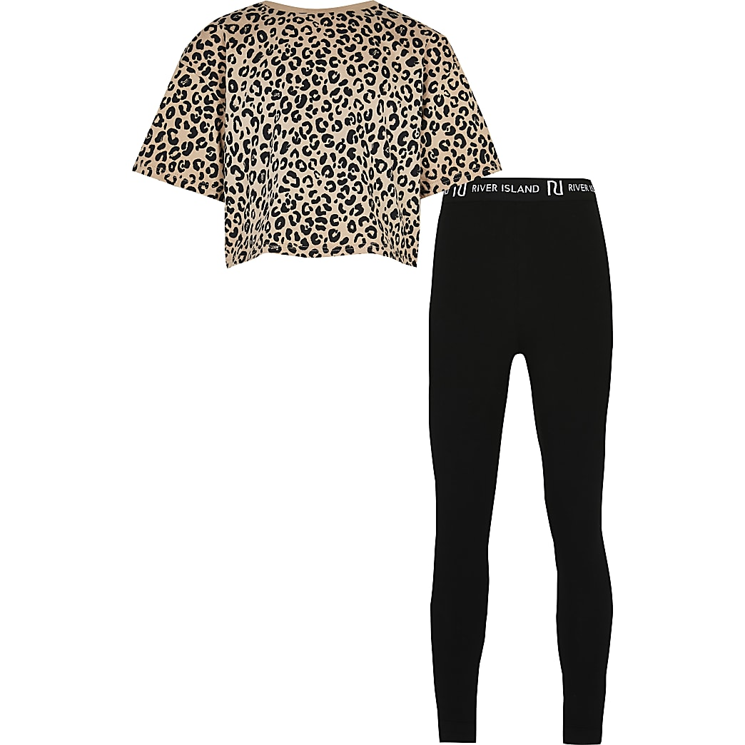 Girls black leopard t-shirt & legging outfit