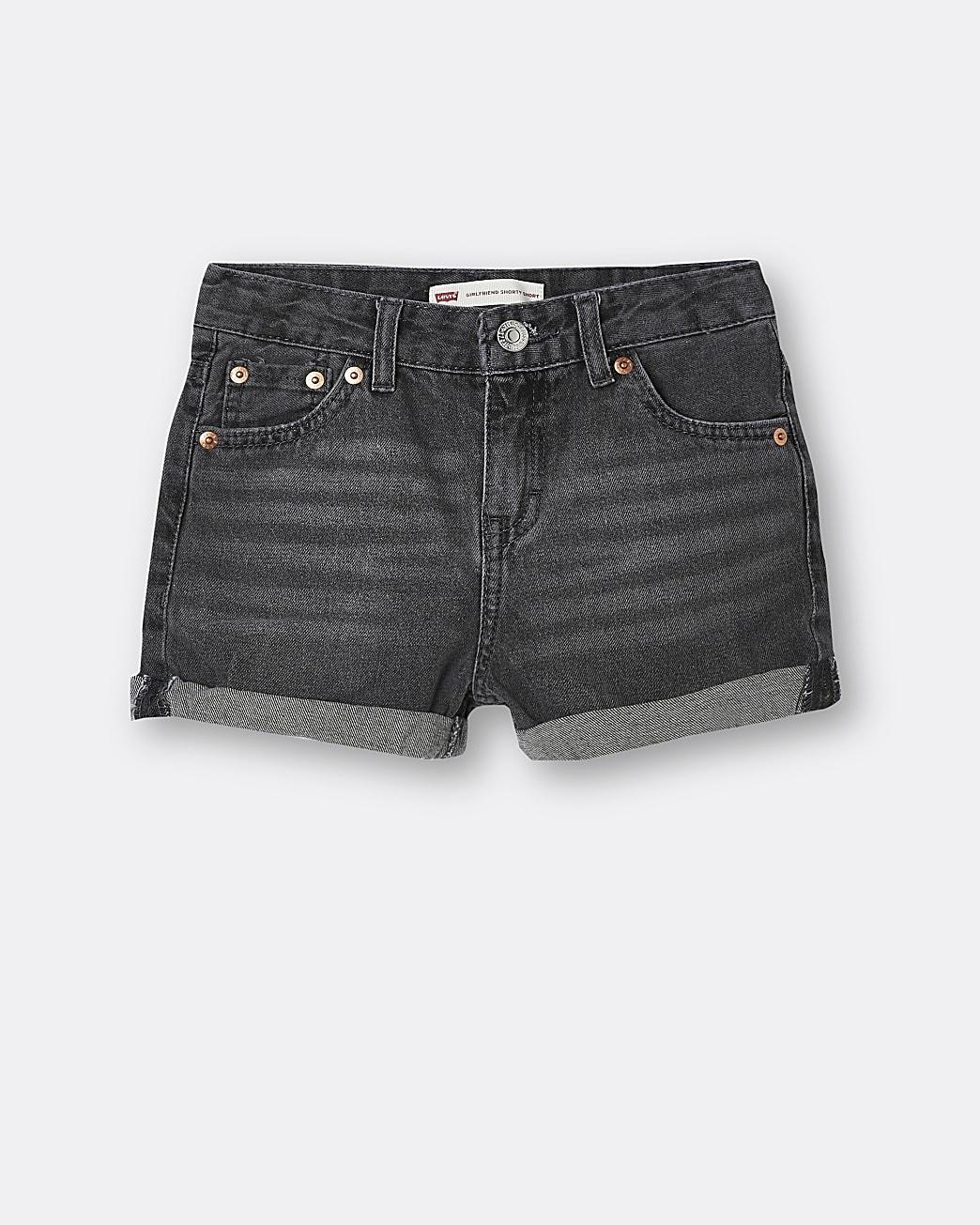 Girls black Levi's denim shorts