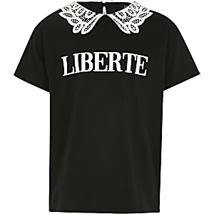 Girls black 'Liberte' lace collar T-shirt