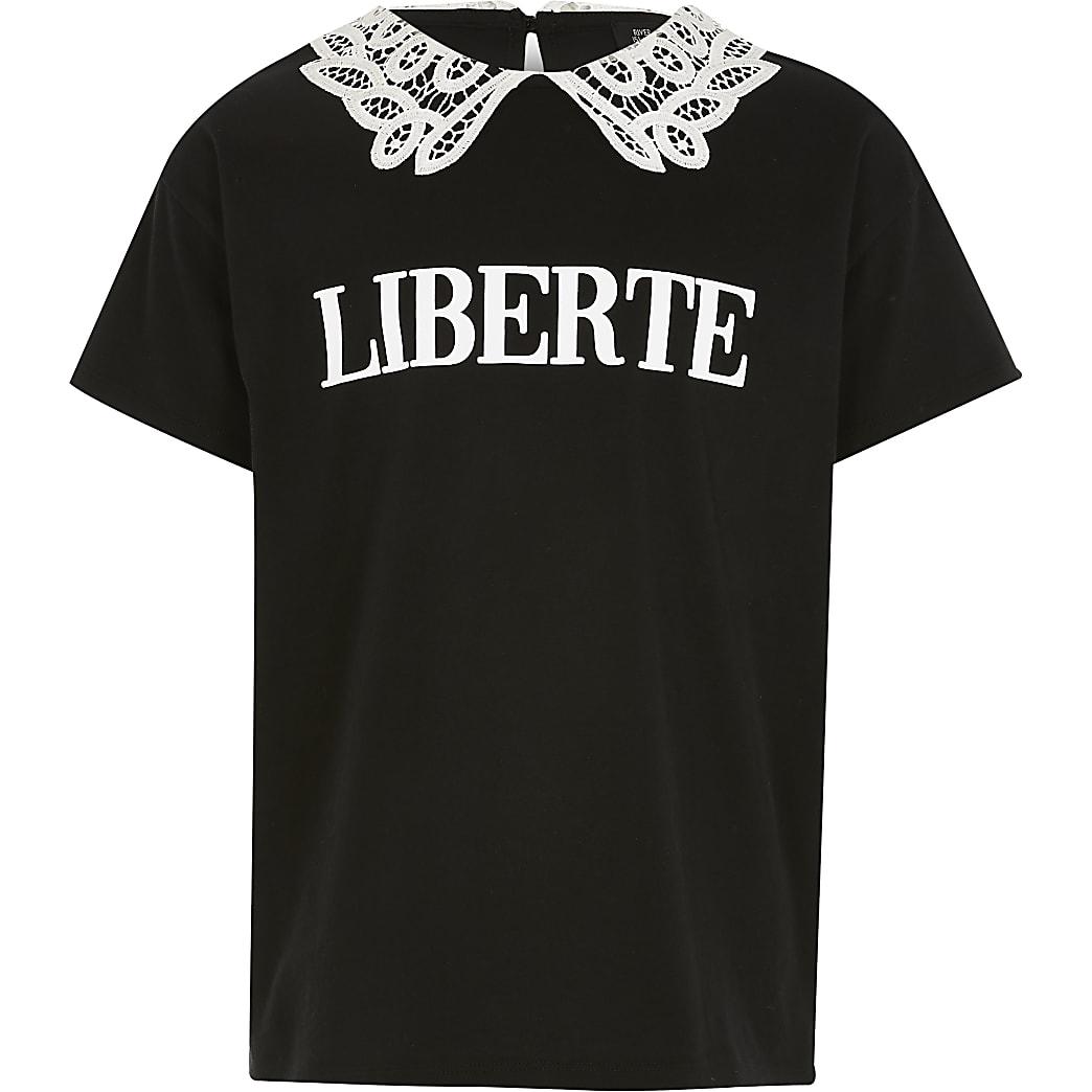 Zwart T-shirt met 'Liberte'-print en kanten kraag voor meisjes