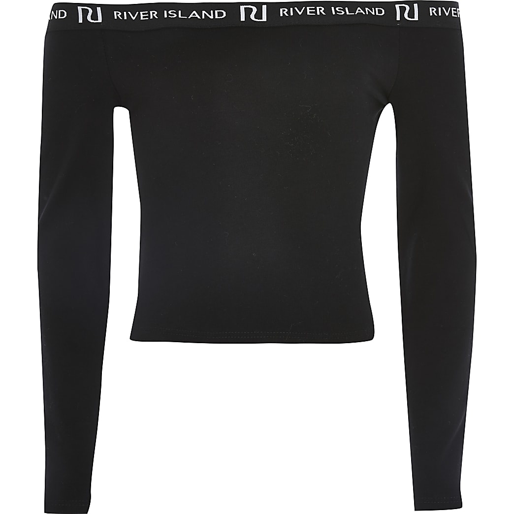 Girls black long sleeve bardot top