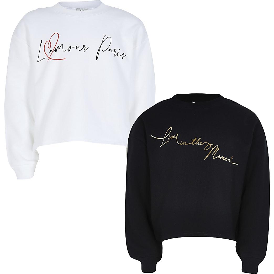 Girls black long sleeve sweatshirt 2 pack