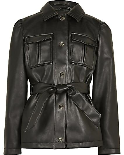 Girls black longline belted jacket