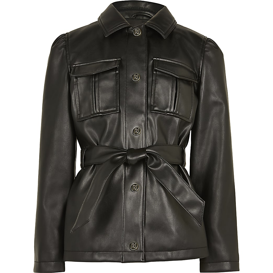 Girls black longline belted jacket