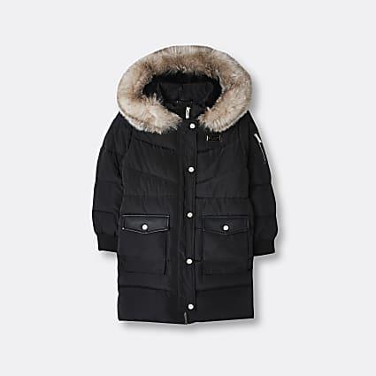 Girls black longline hooded puffer coat