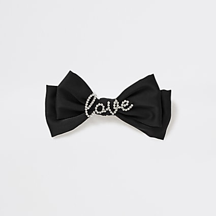 Girls black love diamante bow clip