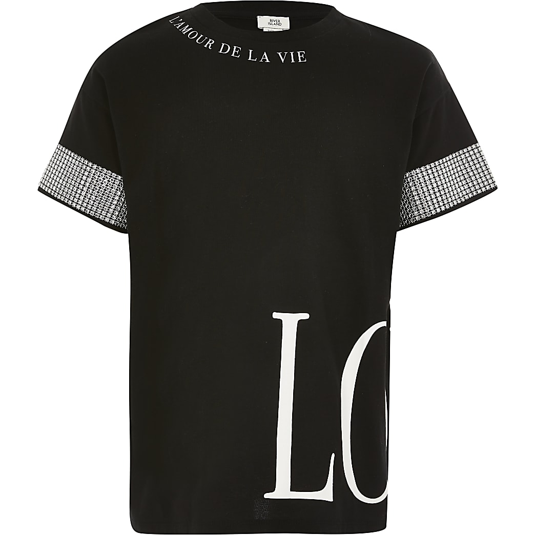Girls black 'Love' diamante oversized T-shirt