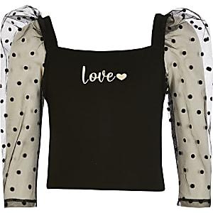 Zwarte top met organza pofmouwen en 'Love'-tekst voor meisjes