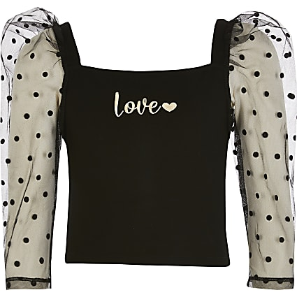 Girls black 'Love' organza puff sleeve top
