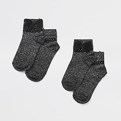 Girls black lurex pearl tulle bow 2 pack sock