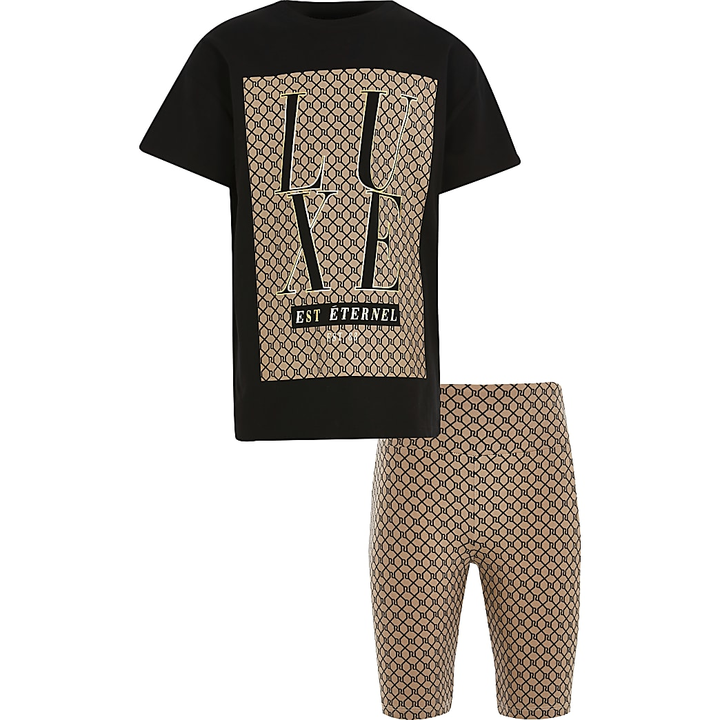 Girls black 'Luxe' monogram t-shirt outfit