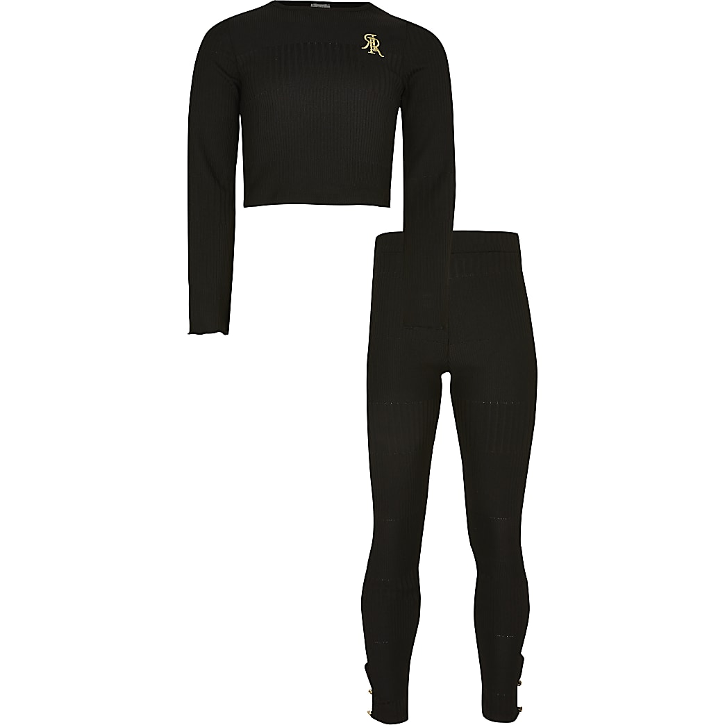 Girls black luxe rib lounge outfit