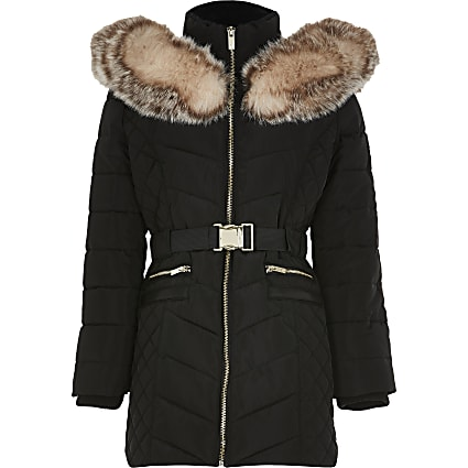 Girls black matte belted puffer coat