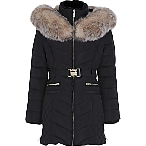 Girls black matte belted puffer jacket