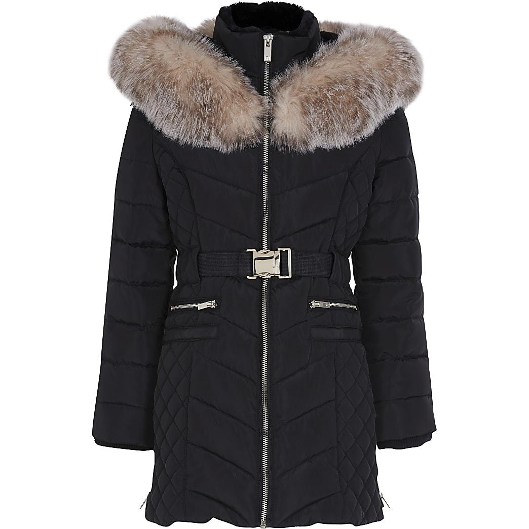 Girls black matte belted puffer jacket