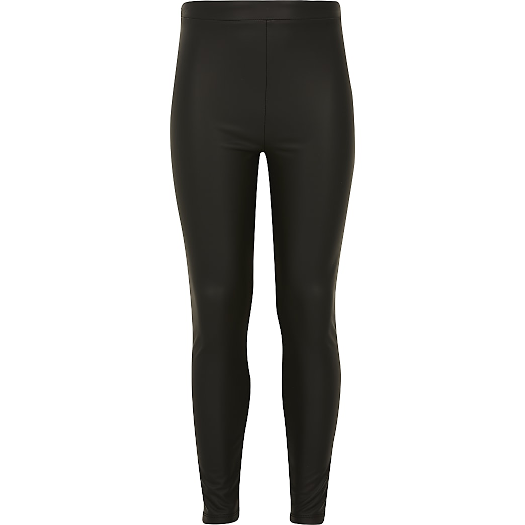 Zwarte legging met matte coating voor meisjes